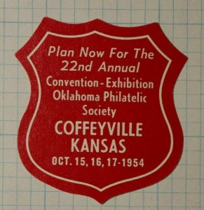 OPS Convention Exhibition Coffeyville KS 1954 Philatelic Souvenir Ad Label