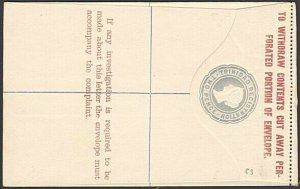 TRINIDAD QV 2d registered envelope fine unused..............................6115