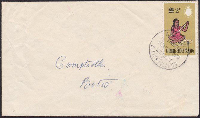 GILBERT & ELLICE IS 1967 local commercial cover ABAOKORO to Betio...........6229