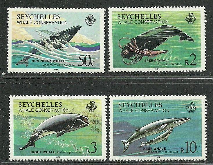 Seychelles 1984 Very Fine MNH Stamps Scott # 555-8 CV 24.00 $ Whale Conservation