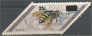 EL SALVADOR, 1976, used 25c on 3col, Surcharged Bees. Scott C372