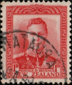NEW ZEALAND - 1939 -  MATAURA  date stamp on SG605 1d scarlet