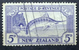 NEW ZEALAND 1935 SG# 563 Striped Marlin 5d Ultramarine USED