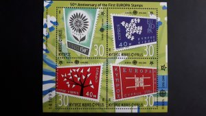 50th anniversary of EUROPA stamps - Cyprus 1x Bl Perf. ** MNH