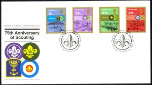 Guernsey Sc# 246-249 FDC 1982 7.13 Scouting 75th