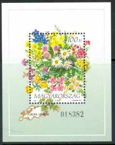 HUNGARY 1994 FLOWERS OF EUROPE Souvenir Sheet Sc 3455 MNH
