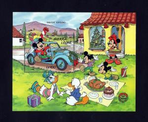 SIERRA LEONE - 1989 - DISNEY - MICKEY - CLASSIC CAR - FIAT - MINT - MNH S/SHEET!