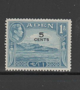 ADEN #36  1951  5c ON 1a  KING GEORGE VI & ADEN HARBOR   MINT VF LH  O.G
