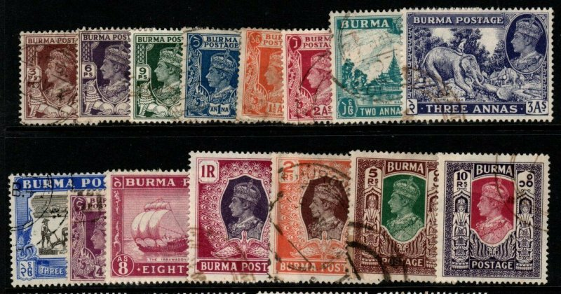 BURMA SG51/63 1946 COLOURS CHANGED DEFINITIVE SET USED