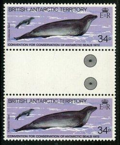 Br Antarctic Territory 1983 Seals Gutter Pairs set Sc# 96-101 NH