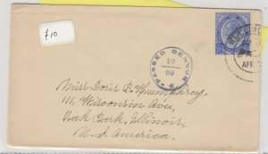 South Africa 1916 Censor Cover To Illinois Postal History  J6071