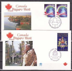 Canada, 1987 issue. Pope John Paul II, visit on 2 Cachet covers. ^