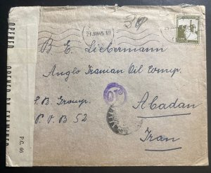 1945 Haifa Palestine Censored Cover To Anglo Oil Co Abadan