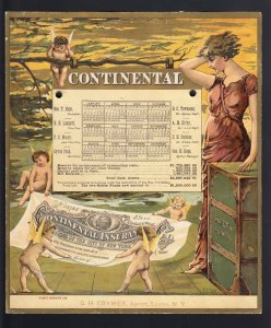 1890's Antique CONTINENTAL INSURANCE ADVERTISING CALENDAR-LEAP YEAR