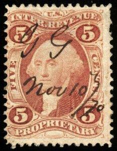 v36 U.S. Revenue Scott #R29d 5c Proprietary silk paper. CV = $375