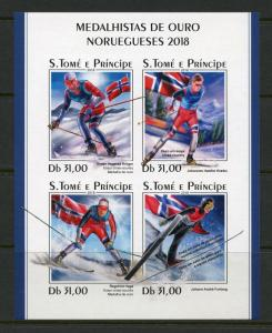 SAO TOME 2018  GOLD MEDALLISTS NORWEGIAN 2018 GAMES IMPERFORATE  SHEET MINT NH