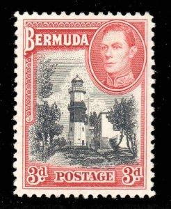 Bermuda 1938 KGVI 3d black & rose-red SG 114 mint CV