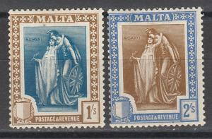 MALTA 1922 ALLEGORICAL 1/- AND 2/-