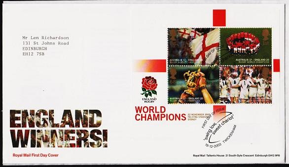 Great Britain. FDC.2003.Rugby World Cup Miniature Sheet. Fine Used