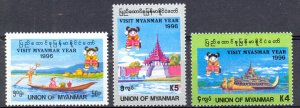 Burma Sc# 328-330 MNH 1996 Attractions