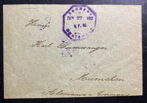 1902 Guatemala Back Stamp Cover to Munich Germany