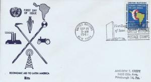 UN #93 4c ECONOMIC AID LATIN AMERICA 1961 - Ritz