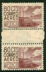 MEXICO C194 80cts Definitive Issue Gutter Pair MNH