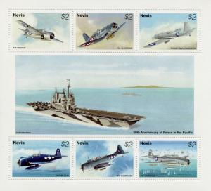Nevis 1995 MNH WWII WW2 VJ Day 50th Anniv Peace Pacific 6v M/S Aviation Stamps