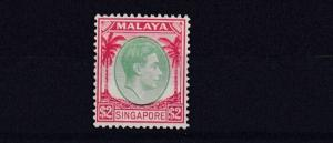 MALAYSIA SINGAPORE 1948 S G 14  $2 GREEN & SCARLET MH