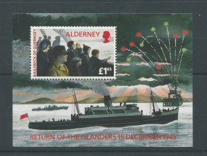 Alderney MNH S/S Ships War 50 Years Of Victory 1995