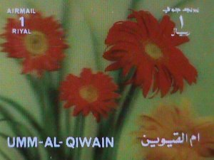 QIWAIN STAMP - LOVELY COLORFUL RED FLOWERS- AIRMAIL- 3-D STAMP MNH #1