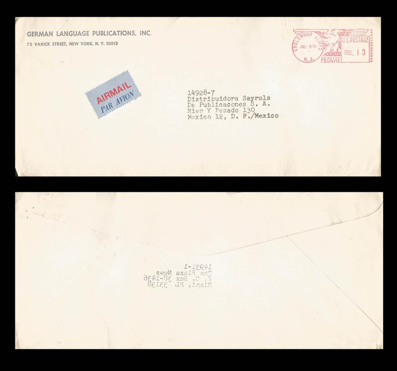 B)1974 USA, EAGLE, GERMAN LENGUAGE PUBLICATIONS, AIRMAIL, CIRCULATED COVER FROM