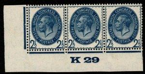GB SG437 1929 PUC 2½d BLUE CONTROL K29 MNH STRIP OF 3