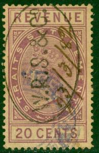 STRAITS SETTLEMENTS 1882 20c Purple QV Revenue Bft 22 VFU WRS & Co Cxl
