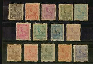 1924 The 2d difficult to get Lapwing Bird set complete MLH Uruguay #285-298