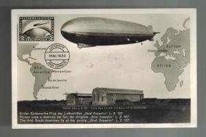 1930 USA Graf Zeppelin postcard cover Around the World to England # C13