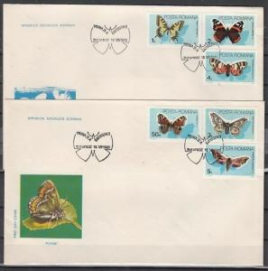 Romania, Scott cat. 3281-3286. Butterflies issue on 2 First day covers.