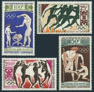 Gabon C22-C25,C25a,MNH.Michel 203-206,Bl.2. Olympics Tokyo-1964.Athletes/Greek.
