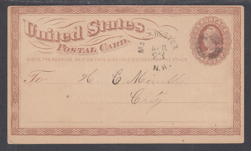 US Sc UX3 used 1873 Illustrated Advertising Postal Card, NH State Reform School