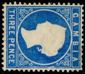 GAMBIA SG14A, 3d bright ultramarine, UNUSED. Cat £500. WMK CC SIDEWAYS.
