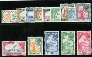 Zanzibar 1957 QEII set complete superb MNH. SG 358-372. Sc 249-263.