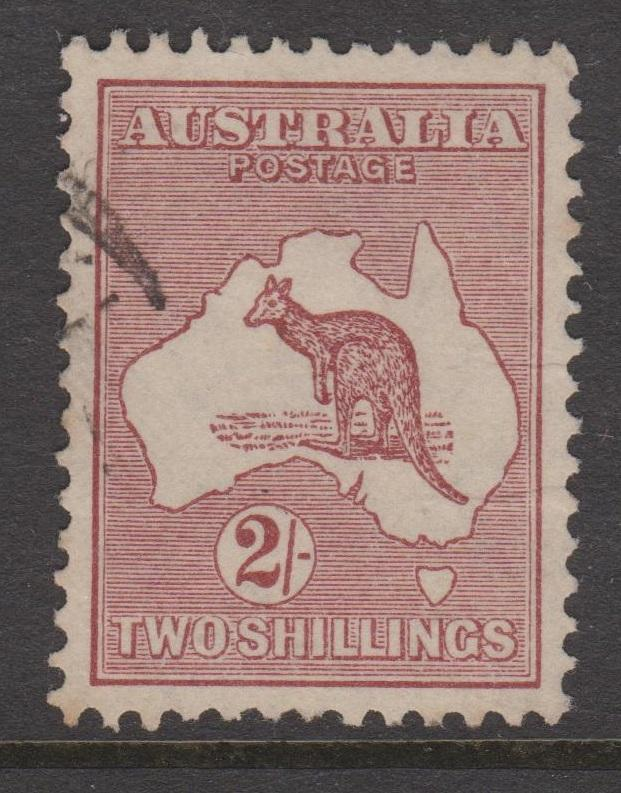 Australia 1935 Kangaroo 2 Shilling Red Brown Sc#125 Very Fine Used