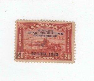 CANADA (MK2602) # 203 VF-USED 20cts 1933 HARVESTING WHEAT O/PRINT/BRN-RED CV $20