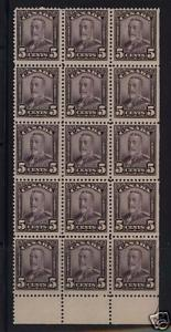 Canada #153 NH Mint Block Of 15 With Rare Guide Arrow