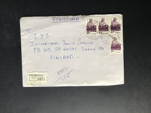 India Registered Cover to Finland City Cancel (1980s-1990s) Cover #953