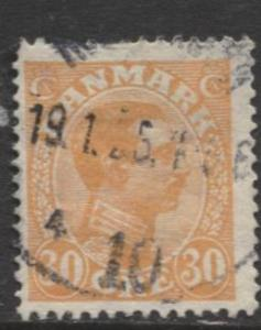 Denmark - Scott 112 - King Christian X Issue -1921 - Used - Single 30o Stamp