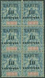 Tahiti SC# 29 France overprinted & surcharged 10c on 15c MNH