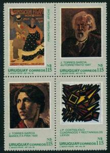 Uruguay 1277 ad,MNH.Mi 1811-1114. Paintings 1988.By Torres Garcia,Costigliolo,