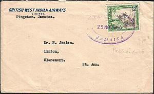 JAMAICA 1950 Commercial cover with PALLISADOES TRD