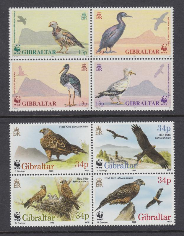 Gibraltar Sc 594a/716 MNH. 1991 & 1996 WWF issues cplt, Endangered Birds